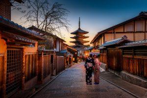 Kyoto Street and Pagoda, Kyoto, Japan